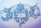 Amazing Tribal Glowing Cats Vector