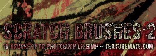 2 sets with 10 Free Scratch Brushes for Photoshop and Gimp