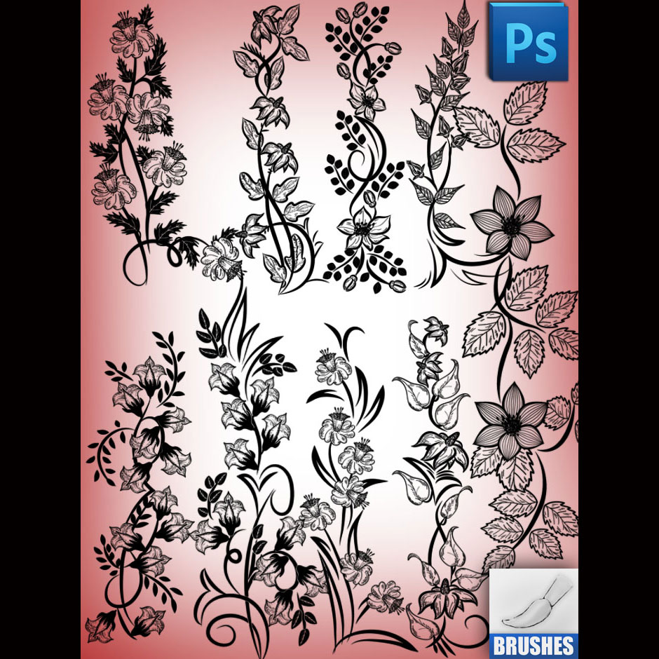 Spring Flowers Brushes Set